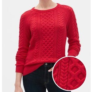 GAP Cable-Knit Crewneck Red Sweater